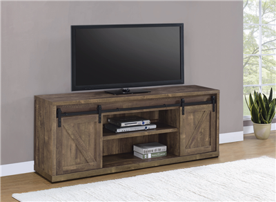71-Inch 3-Shelf Sliding Doors TV Console Rustic Oak