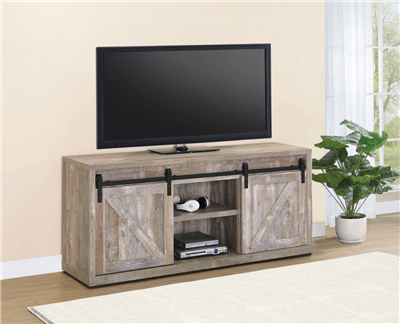 71-Inch 3-Shelf Sliding Doors TV Console Weathered Oak