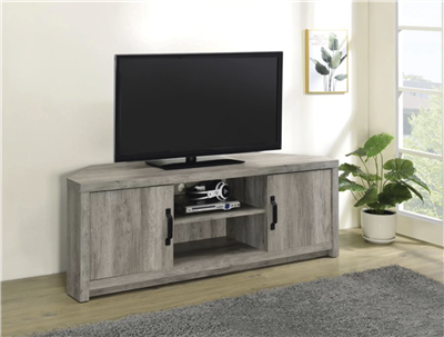 Corner TV Console in Weathered Gray