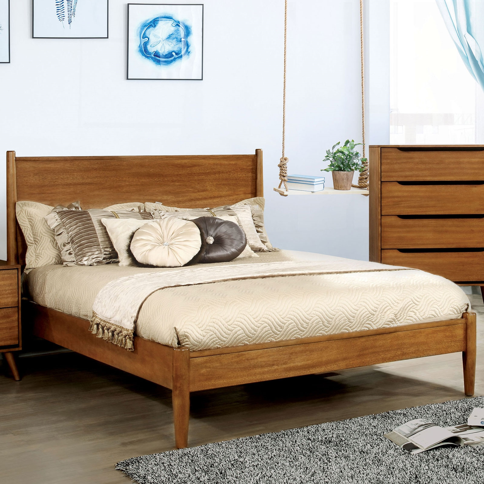 Image of: Lennart Ii Oak Finish Mid Century Modern Queen Bed