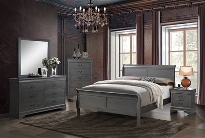 Contemporary Gray Finish Louis Philippe Style Bedroom Collection