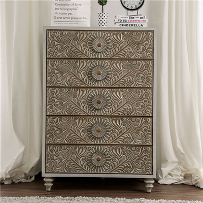 Transitional Style Floral Design 5-Drawer Chest