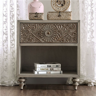 Transitional Style Floral Design Single Drawer Nightstand with Open Shelf