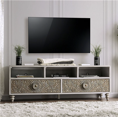 Transitional Style Floral Design TV Console with Bun Feet