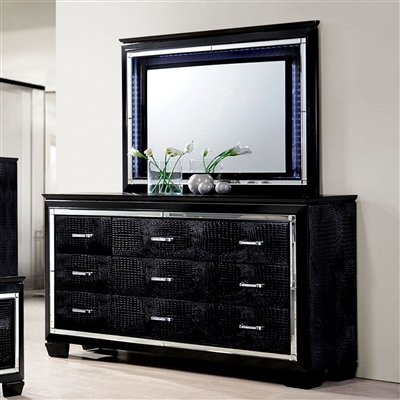 Contemporary Black Crocodile Embossed 6-Drawer Dresser