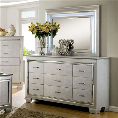 Contemporary Silver Crocodile Embossed 6-Drawer Dresser