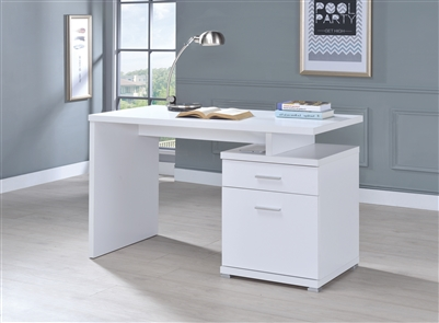 Irving 2-Drawer Office Desk With Cabinet White