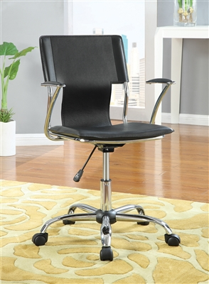 Modern Black Leatherette & Chrome Adjustable Office Chair