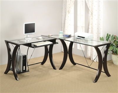 3 piece espresso finish contemporary computer desk