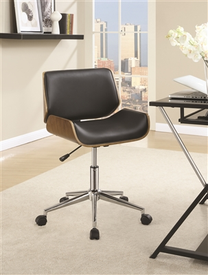 Low Profile Black & Walnut Retro Style Office Chair