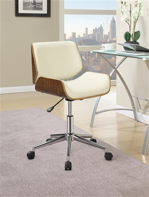 Low Profile White & Walnut Retro Style Office Chair