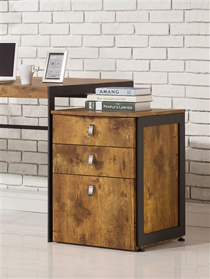 Estrella Industrial Style Antique Nutmeg Finish Filing Cabinet