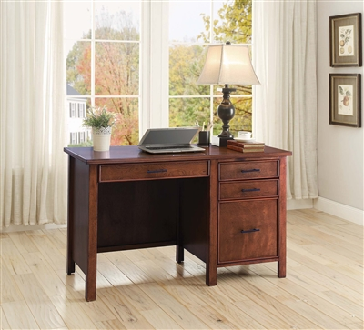 Traditional Style Writing Desk with File Cabinet & Power Outlet
