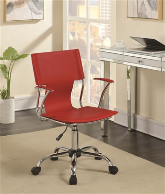 Modern Red Leatherette & Chrome Adjustable Office Chair