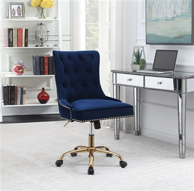 Blue Velvet Office Chair with Brass Accent Trim