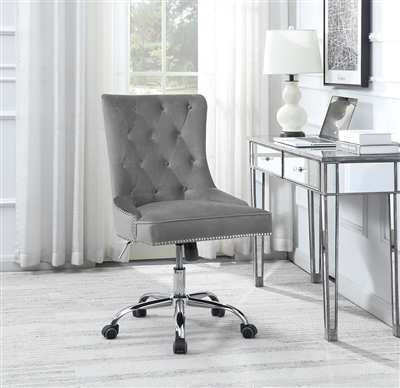 Grey Velvet Office Chair with Chrome Accent Trim