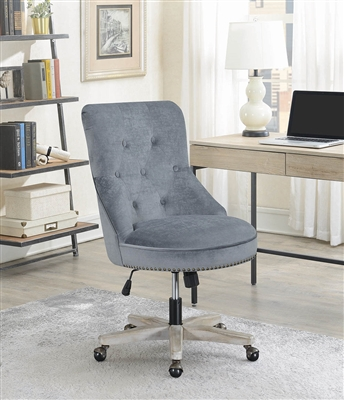Hayes Modern Farmhouse Grey Velvet Office Chair