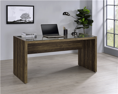 Luetta 59-Inch Rectangular Writing Desk Aged Walnut