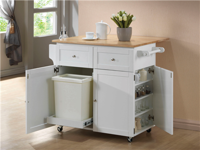 3-Door Kitchen Cart With Casters Natural Brown And White
