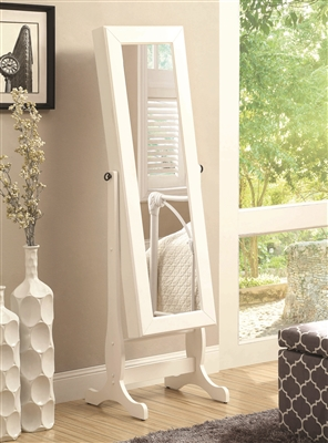 White Jewelry Cheval Mirror with Inner Storage