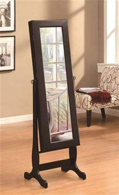 Cappuccino Jewelry Cheval Mirror with Inner Storage
