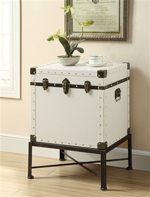 Hicks Lift-Top White & Black Accent Cabinet