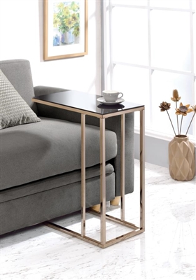 Rectangular Accent Table Black & Chocolate Chrome - Coaster 902928