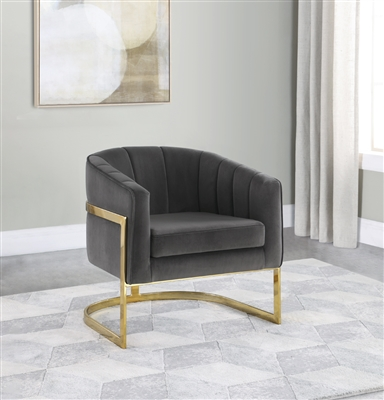 Modern Velvet Barrel Back Accent Chair in Gray and Gold