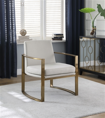 Concave Metal Arm Accent Chair Cream And Bronze