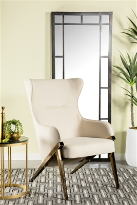 Transitional Style Accent Chair in Cream & Bronze