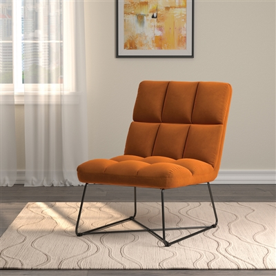 Tufted Velvet Accent Chair with Black Metal Base in Burnt Orange