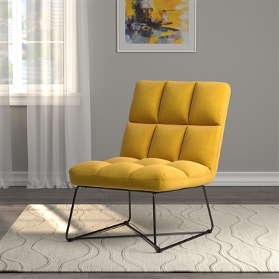 Tufted Velvet Accent Chair with Black Metal Base in Yellow