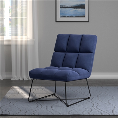 Tufted Velvet Accent Chair with Black Metal Base in Blue