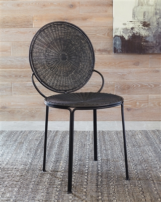 Woven Fabric & Iron Reto Style Accent Chair