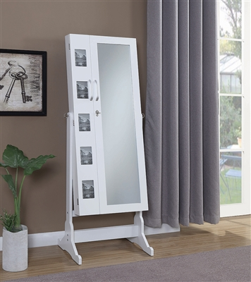 White Jewelry Cheval Mirror with Picture Frames