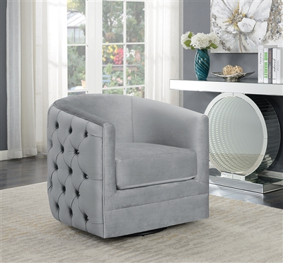 Gray Velvet Glam Style Swivel Accent Chair