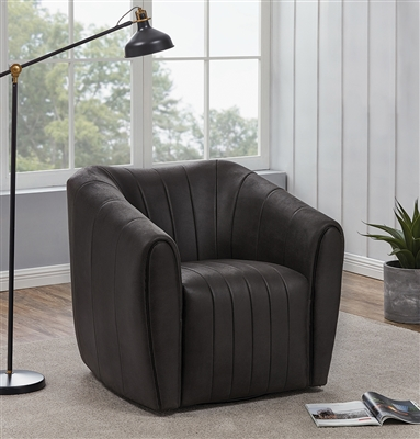 Modern Brown Leatherette Swivel Chair