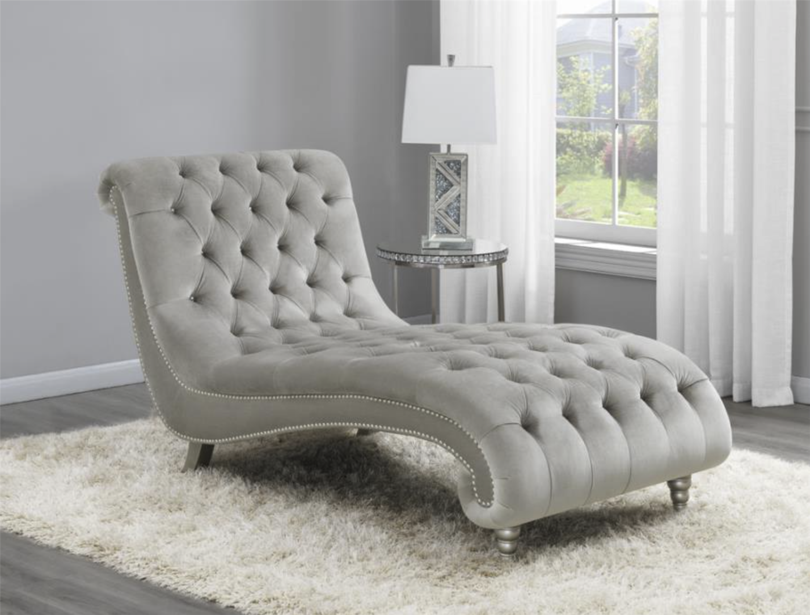 Mikia Chic Charcoal Velvet Tufted Chaise Lounge