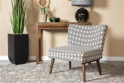 Upholstered Accent Chair With Wooden Leg Black And White