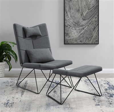 Padded Armless Accent Chair With Ottoman Grey