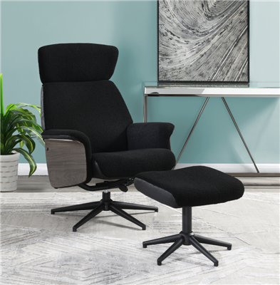 Adjustable Height Accent Chair With Ottoman Black