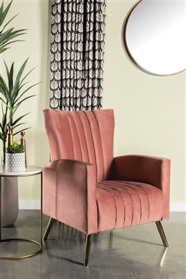 Channeled Tufted Upholstered Accent Chair Rose