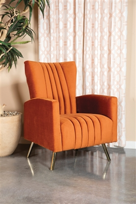 Channeled Tufted Upholstered Accent Chair Rust