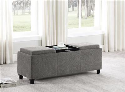 Maggie Storage Bench w/ Flip Top Tables - Gray