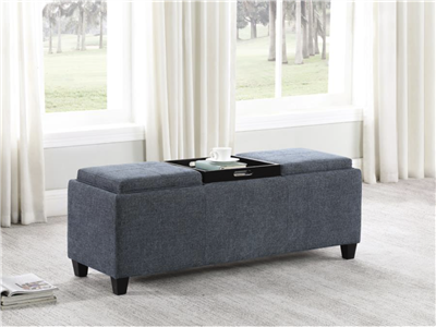 Maggie Storage Bench w/ Flip Top Tables - Teal