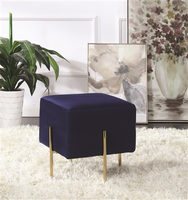 Modern Blue Velvet Cube Ottoman with Brass Legs