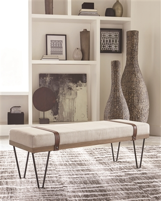 Modern Rustic Beige Linen & Natural Wood Accent Bench