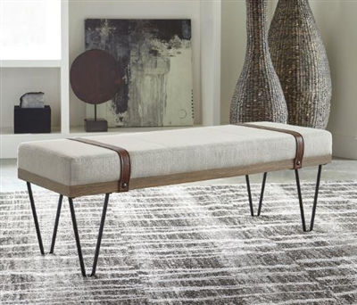 Beige Linen-Like Fabric/Black Metal Bench - 910258