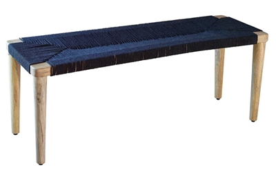 Natural Wood Bench with Black Cotton Rope Woven - Coaster 915136