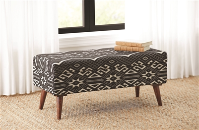 Jaki Black & White Storage Bench- Hand Crafted in India